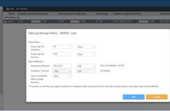 FortiAnalyzer 5.4 Storage Quota Limits for ADOM root