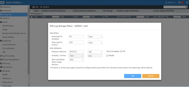 FortiAnalyzer 5.4 Storage Quota Limits for ADOM root