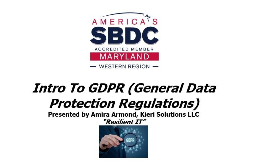 SBDC - Intro to GDPR training - Frederick MD
