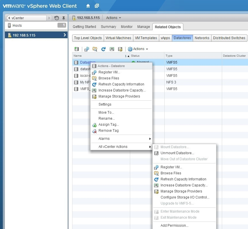 vmware datastore storage san vsan iscsi fc