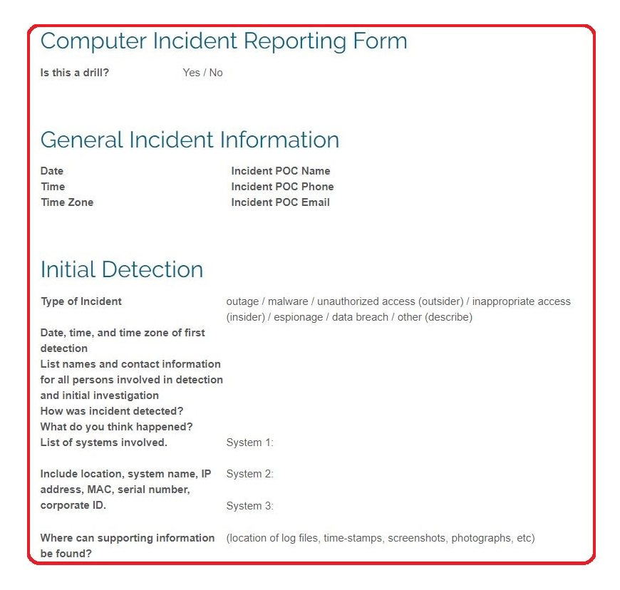 best free incident response reporting form cybersecurity IT