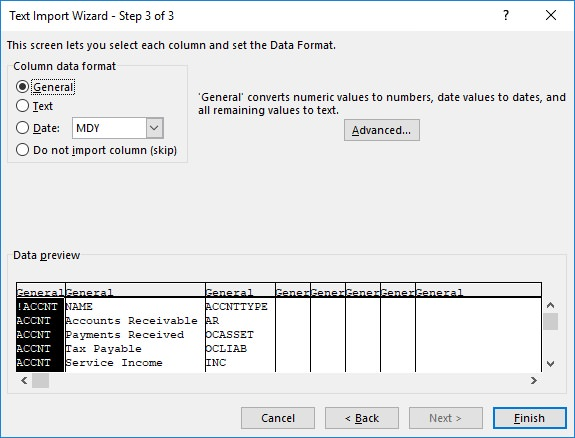 17hats conversion wizard step 3 tab csv excel