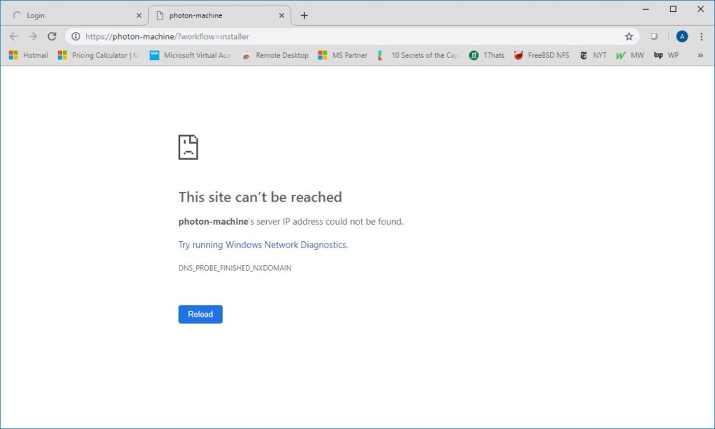 connect vcenter 6 7 chrome after install ip address photon-machine error dns