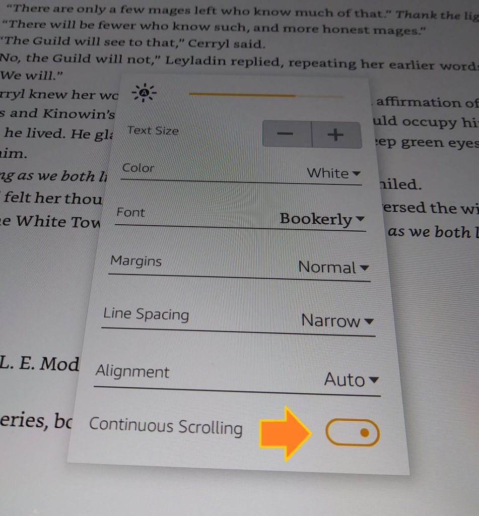 How to disable continuous scrolling on Kindle - turn on page flip