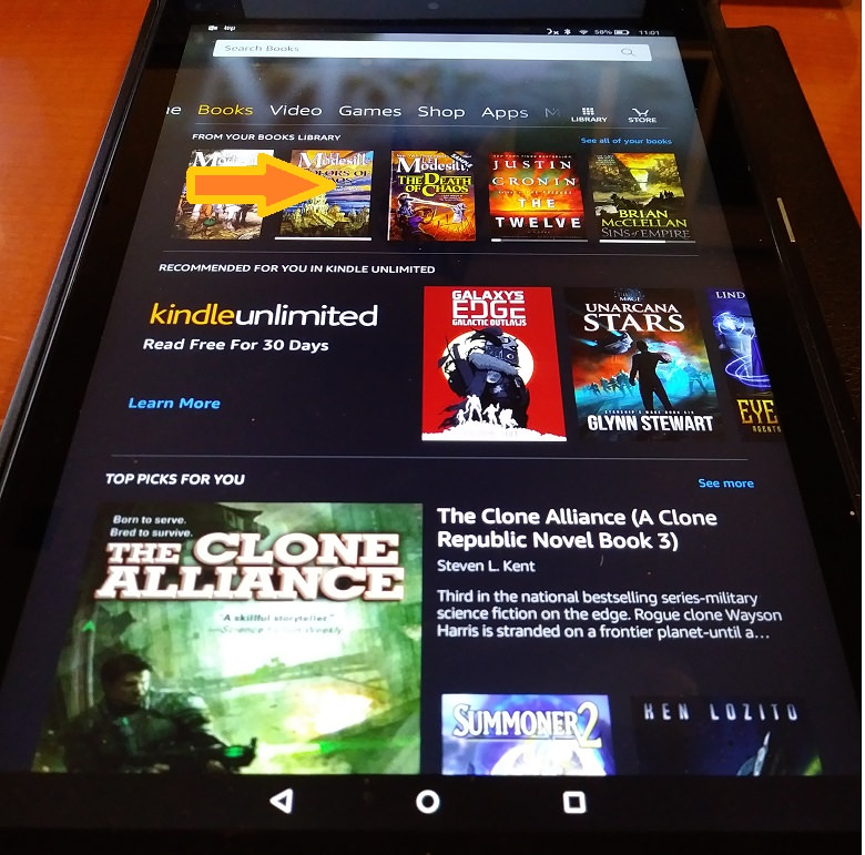 kindle fire books menu then open book text