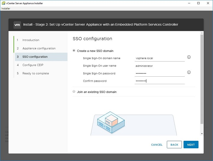 stage 2 step 3 sso domain using vsphere_local