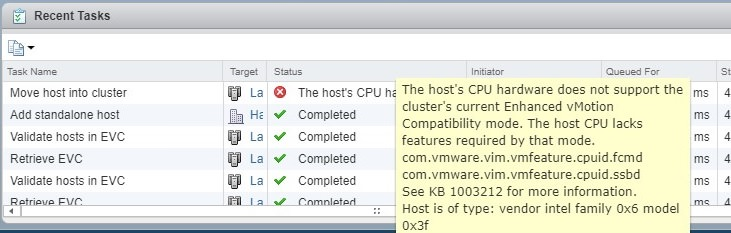 the hosts cpu hardware does not support the cluster