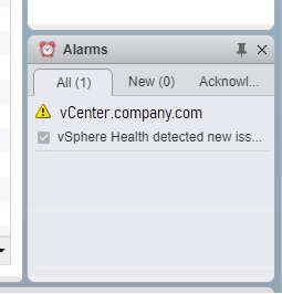 vcenter 6.7 alarm displays vsphere health detected new issue