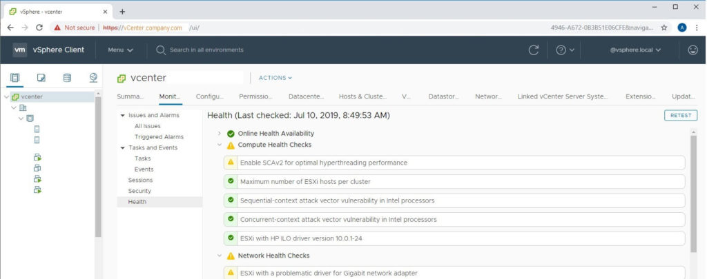 The vsphere html5 client shows the health tab