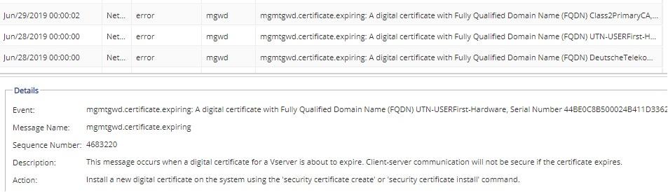 Netapp 3rd-party CA certificates expiring DeutscheTelekomRootCA2
