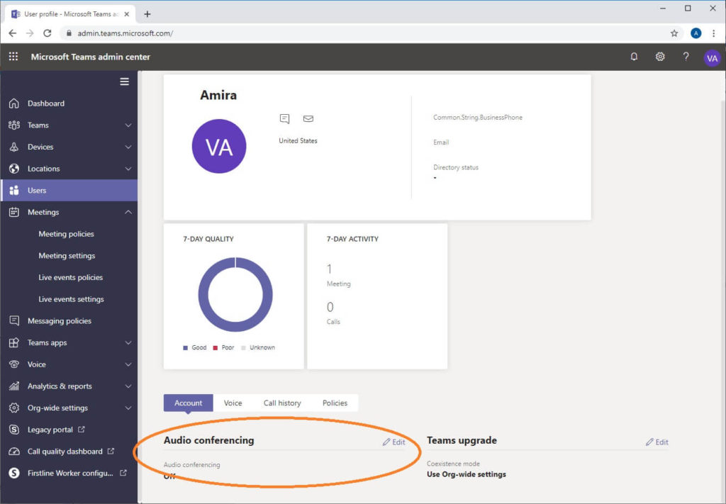 Teams admin center for o365 showing user properties