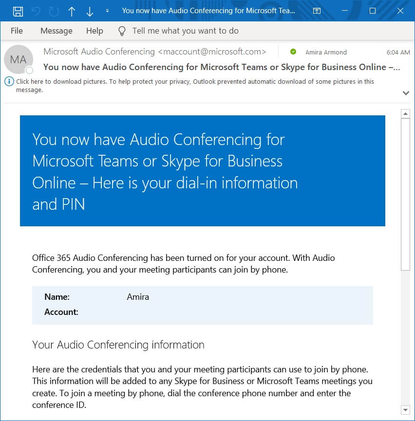 Microsoft teams audio conferencing phone number and pin email