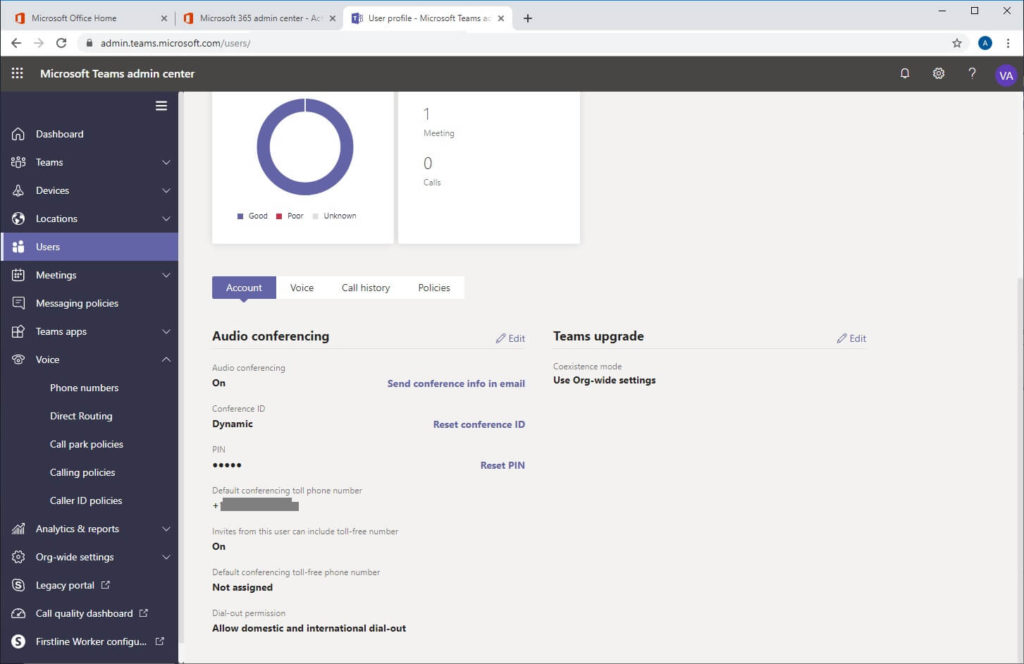 Microsoft teams admin center enable audio conferencing and phone line for user
