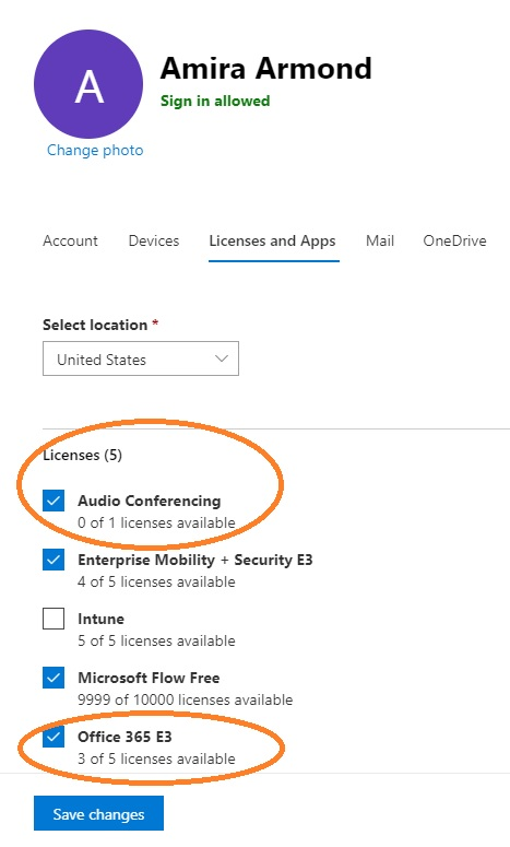 Office 365 admin portal assign license for audio conferencing to user