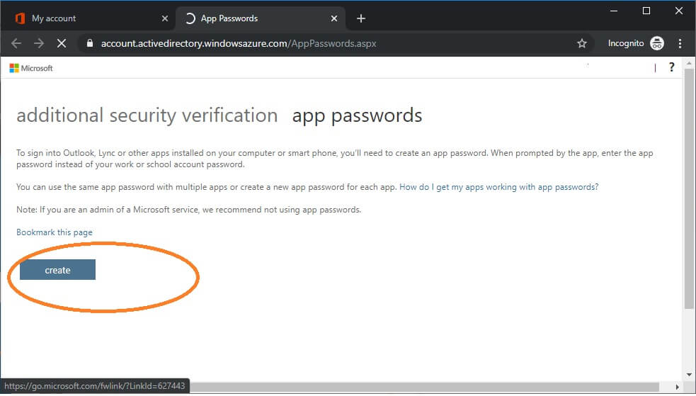 create app passwords for a user in account settings o365