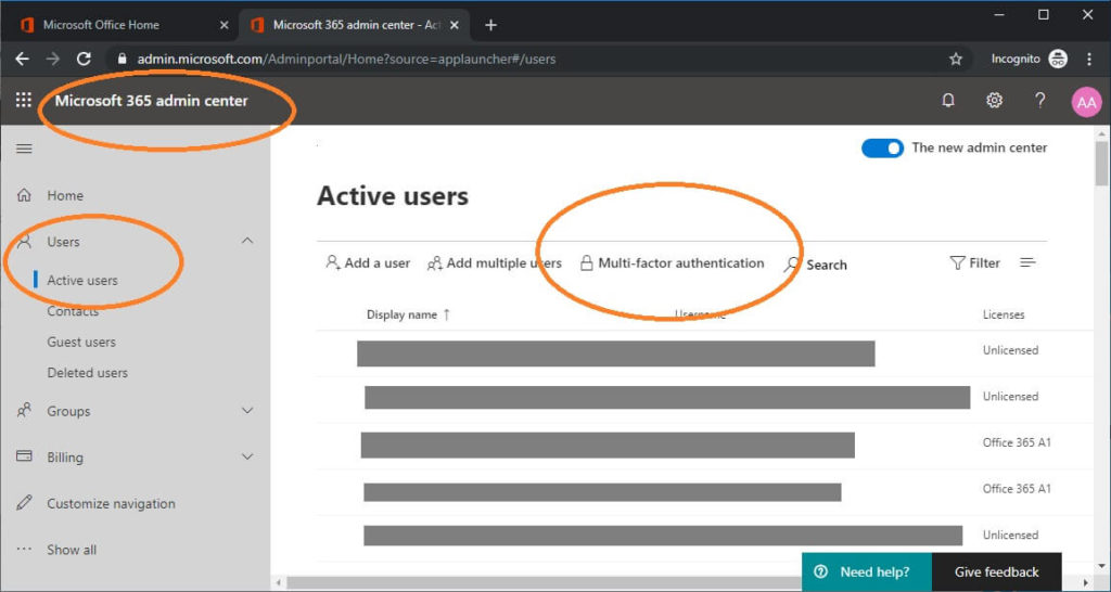 office 365 portal steps to view multi factor authentication enable