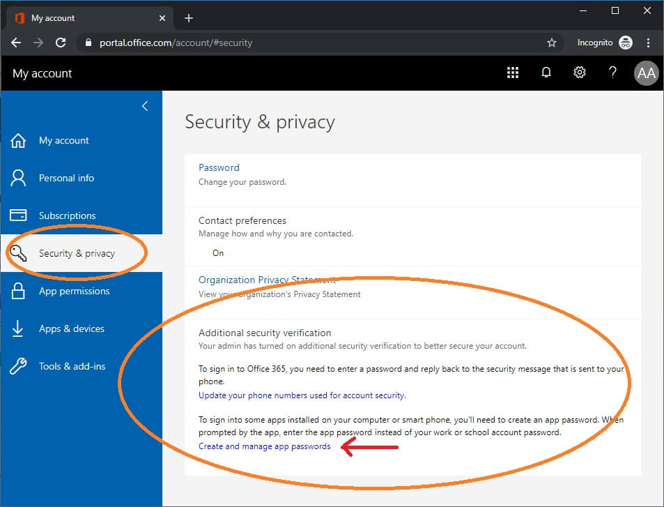 menu for app password displays in account settings o365 user